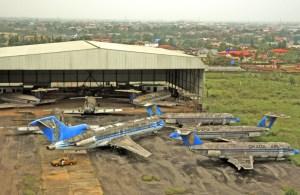 Okada aircraft parked at Benin airport